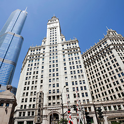 Chicago photo of Trump Tower and Wrigley Building in downtown Chicago.  Photo was taken in May 2010 and is high resolution.