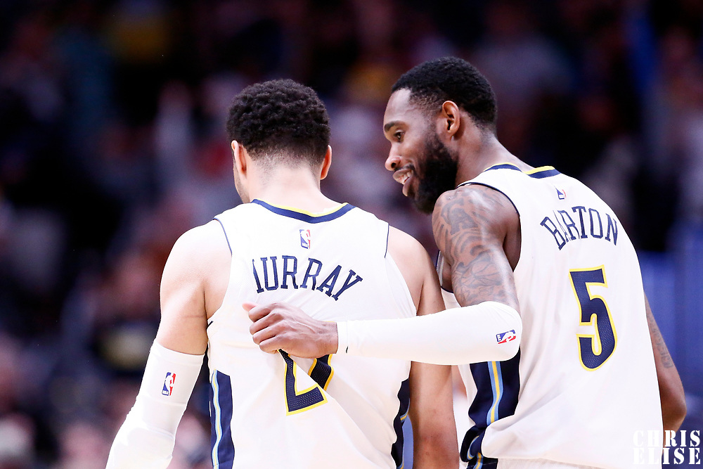 01 April 2018: Denver Nuggets guard Jamal Murray (27) is seen next to Denver Nuggets forward Will Barton (5) during the Denver Nuggets 128-125 victory over the Milwaukee Bucks, at the Pepsi Center, Denver, Colorado, USA.