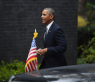 United States President Barak Obama arrives at 10 Downing Street in London to be welcomed by British Prime Minister David Cameron.<br /> Picture by Andrew Timms/Focus Images Ltd +44 7917 236526<br /> 22/04/2016