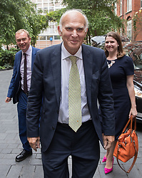 © Licensed to London News Pictures. 20/07/2017. London, UK. Vince Cable arrives at his Liberal Democrat party leadership announcement event followed by previous party leader Tim Farron (L) and Lib Dem MP Jo Swinson. Tim Farron stepped down after the general election.  Photo credit: Peter Macdiarmid/LNP