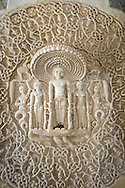 A carved marble disc inside the main Jain temple at Ranakpur, Rajasthan,<br /> India