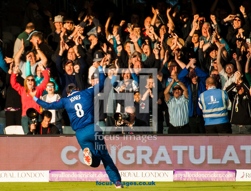 Geraint Jones of Gloucestershire celebrates after winning Royal London One Day Cup Final match at Lord's, London<br /> Picture by Jack Megaw/Focus Images Ltd +44 7481 764811<br /> 19/09/2015