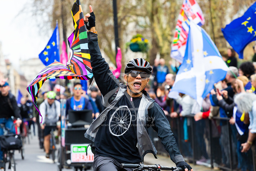 Cyclists with a sound system blaring AC-DC's Highway to Hell join tens of thousands of people from across the UK march from Park Lane to Parliament demanding a People's Vote on the EU withdrawal agreement before the UK leaves the EU. London, March 23 2019