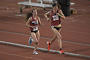 Gwen Jorgensen and Carrie Dimoff lead the women's 10,000m in the Stanford Invitational in Stanford, Calif., Friday, Mar 30, 2018. Jorgensen won in 31:55.68. Dimoff was second in 31:57.85. (Gerome Wright/Image of Sport)