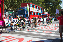 The break goes under the finish gantry with three to go Stage 2 of the Madrid Challenge - a 100.3 km road race, starting and finishing in Madrid on September 16, 2018, in Spain. (Photo by Balint Hamvas/Velofocus.com)