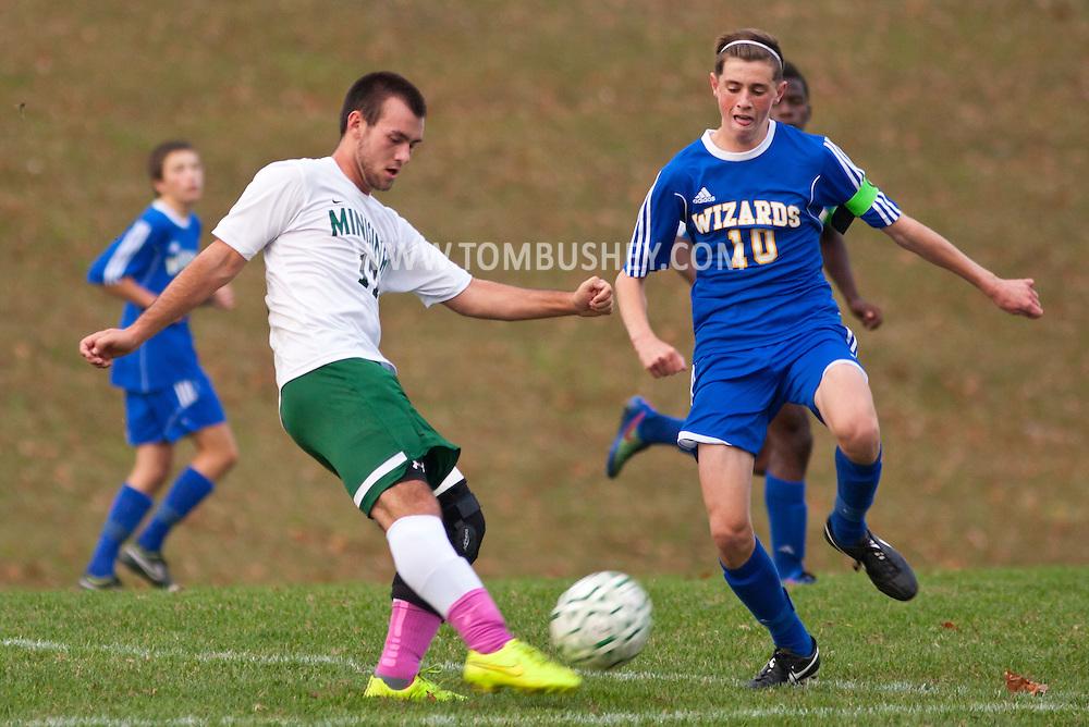 Slate Hill, New York  - Washingtonville plays Minisink Valley in a varsity boys' soccer game on Oct. 21, 2014. Washingtonville won 2-0