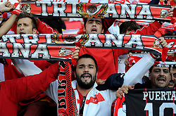 Sevilla fans before the game - Photo mandatory by-line: Joe Meredith/JMP - Mobile: 07966 386802 12/08/2014 - SPORT - FOOTBALL - Cardiff - Cardiff City Stadium - Real Madrid v Sevilla - UEFA Super Cup