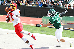 19 September 2015:  Adrean Johnson intercepts a pass intended for Dominic Comfort, but is ruled out of bounds during an NCAA division 3 football game between the Simpson College Storm and the Illinois Wesleyan Titans in Tucci Stadium on Wilder Field, Bloomington IL