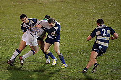Leeds Carnegie Prop (#1) Sam Lockwood is tackled by Bristol replacement (#21) Ruki Tipuna and Fly-Half (#10) Adrian Jarvis during the second half of the match - Photo mandatory by-line: Rogan Thomson/JMP - Tel: Mobile: 07966 386802 25/01/2013 - SPORT - RUGBY - Memorial Stadium - Bristol. Bristol v Leeds Carnegie - RFU Championship.