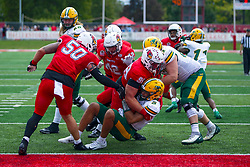 NORMAL, IL - October 05: John Ridgeway sacks Trey Lance during a college football game between the ISU (Illinois State University) Redbirds and the North Dakota State Bison on October 05 2019 at Hancock Stadium in Normal, IL. (Photo by Alan Look)
