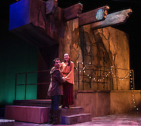 Romeo (Jack Harding) and Juliet (Emily Casko) during dress rehearsal Wednesday evening for Romeo and Juliet at the Winnipesaukee Playhouse.  (Karen Bobotas/for the Laconia Daily Sun)