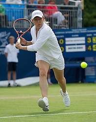 LIVERPOOL, ENGLAND - Sunday, June 19, 2011: Martina Navratilova (USA) in action during day four of the Liverpool International Tennis Tournament at Calderstones Park. (Pic by David Rawcliffe/Propaganda)