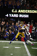 Los Angeles Rams wide receiver Josh Reynolds (83) in action during the NFL Super Bowl 53 football game against the New England Patriots on Sunday, Feb. 3, 2019, in Atlanta. The Patriots defeated the Rams 13-3. (©Paul Anthony Spinelli)