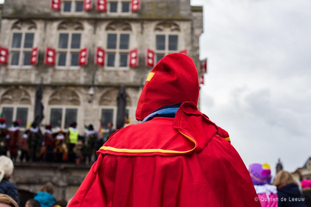 "St Nicholas arrives in Gouda.  Sinterklaas or Sint-Nicolaas is a legendary figure based on Saint Nicholas, patron saint of children. Other names for the figure include De Sint (""The Saint""), De Goede Sint (""The Good Saint""), and De Goedheiligman (""The Good Holy Man"").<br /> <br /> The feast of Sinterklaas celebrates the name day of Saint Nicholas on 6 December. The feast is celebrated annually with the giving of gifts on St. Nicholas' Eve (5 December)in the Netherlands."