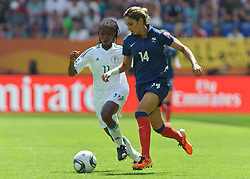26.06.2011, Rhein-Neckar-Arena, Sinsheim, GER, FIFA Women´s Worldcup 2011, GRUPPE A, NIGERIA (NGA) vs FRANKREICH (FRA) , im Bild Glory IROKA (NGA #11,Rivers Angels)  im Laufduell mit Louisa NECIB (FRA #14, FCF Lyon)  // during the FIFA Women´s Worldcup 2011, Pool A, Nigeria (NGA) vs France (FRA) on 2011/06/26, Rhein-Neckar-Arena, Sinsheim, Germany. EXPA Pictures © 2011, PhotoCredit: EXPA/ nph/  Roth       ****** out of GER / SWE / CRO  / BEL ******