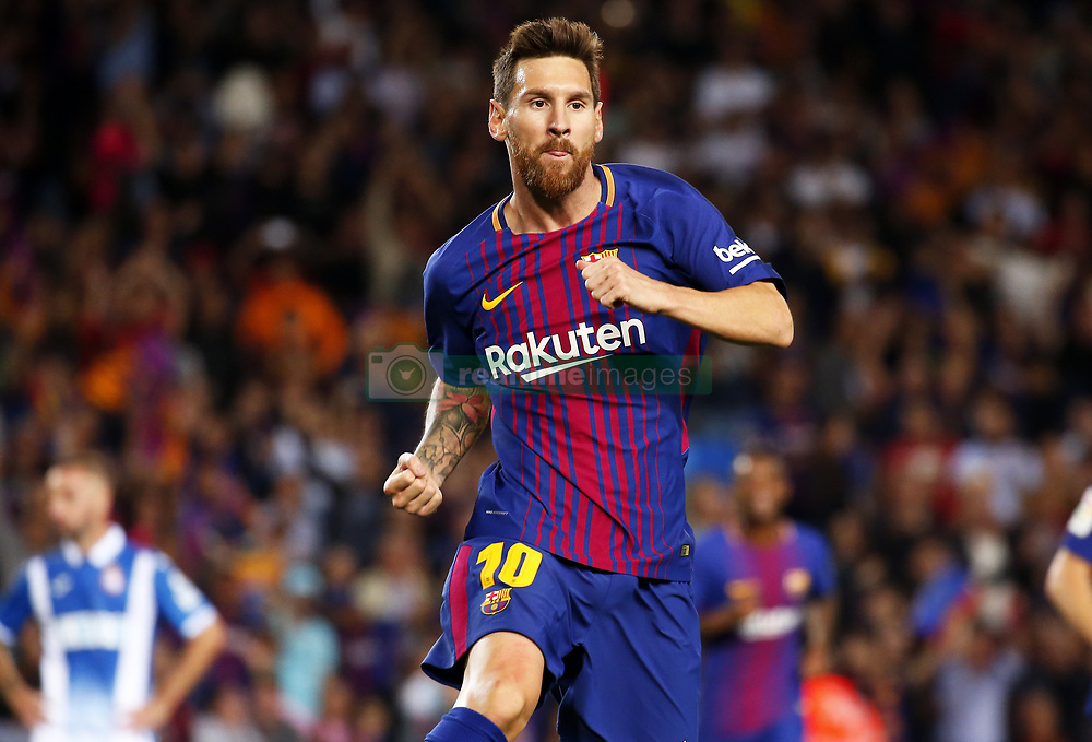 September 9, 2017 - Barcelona, Catalonia, Spain - Leo Messi celebration during La Liga match between F.C. Barcelona v RCD Espanyol, in Barcelona, on September 09, 2017. (Credit Image: © Joan Valls/NurPhoto via ZUMA Press)