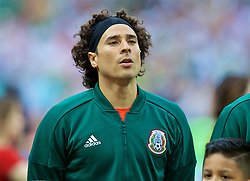 MOSCOW, RUSSIA - Sunday, June 17, 2018: Mexico's goalkeeper Guillermo Ochoa sings the national anthem before the FIFA World Cup Russia 2018 Group F match between Germany and Mexico at the Luzhniki Stadium. (Pic by David Rawcliffe/Propaganda)