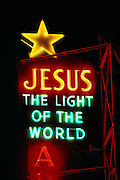 Jesus, the Light of the World neon sign at a mission in San Francisco, California.