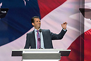 Donald Trump, Jr. son of Donald Trump and his first wife Ivana Trump addresses the second day of the Republican National Convention July 19, 2016 in Cleveland, Ohio. Earlier in the day the delegates formally nominated Donald J. Trump for president.