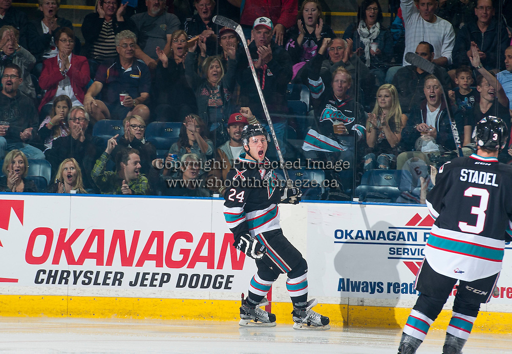 KELOWNA, CANADA - SEPTEMBER 25: Tyson Baillie #24 of the Kelowna Rockets celebrates the first goal of the first period against the Kamloops Blazers on September 25, 2015 at Prospera Place in Kelowna, British Columbia, Canada.  (Photo by Marissa Baecker/Getty Images)  *** Local Caption *** Tyson Baillie;