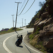 Biker on Santa Monica Mountains park. California,USA.