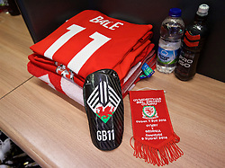 CARDIFF, WALES - Sunday, October 9, 2016: The Wales shirt of Gareth Bale in the dressing room before the 2018 FIFA World Cup Qualifying Group D match against Georgia at the Cardiff City Stadium. (Pic by David Rawcliffe/Propaganda)