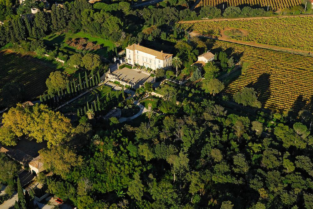 France, Languedoc Roussillon, Hérault, Montpellier, Folie, château de Flaugergues, vue aérienne