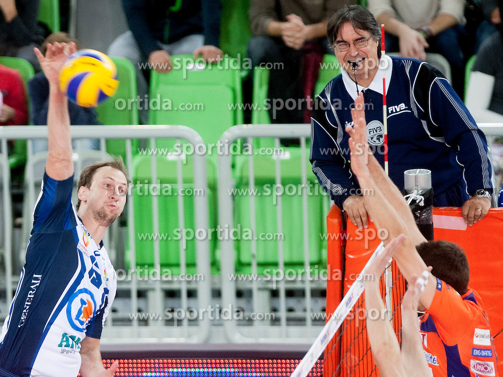 during volleyball match between ACH Volley (SLO) and Tours VB (FRA) in 3rd Round of CEV Champions League on November 5, 2013 in Arena Stozice, Ljubljana, Slovenia. (Photo by Urban Urbanc / Sportida)