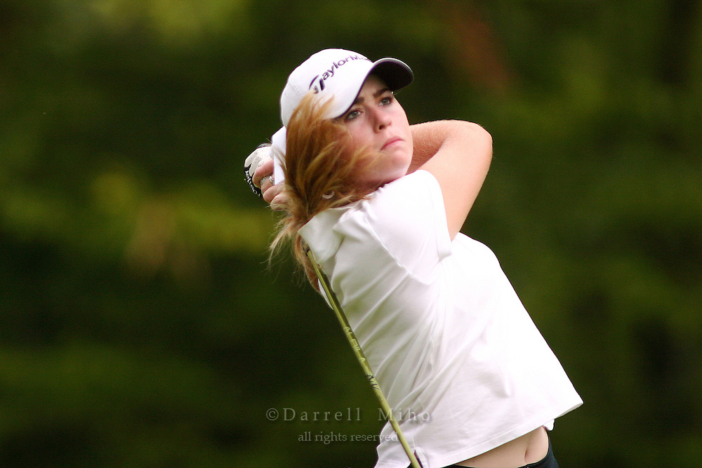 August 19, 2004; Dublin, OH, USA;  18 year old amateur Paula Creamer tees off during the 1st round of the Wendy's Championship for Children golf tournament held at Tartan Fields Golf Club.  <br />Mandatory Credit: Photo by Darrell Miho <br />&copy; Copyright Darrell Miho