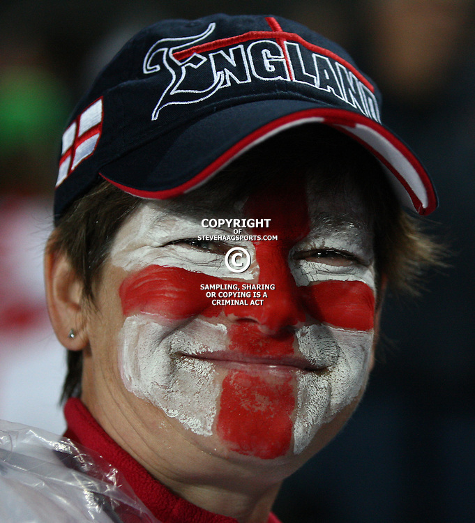 AUCKLAND, NEW ZEALAND - OCTOBER 01, A English rugby fan during the 2011 IRB Rugby World Cup match between England and Scotland at Eden Park on October 01, 2011 in Auckland, New Zealand<br /> Photo by Steve Haag / Gallo Images
