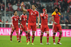 30.11.2013, Allianz Arena, Muenchen, GER, 1. FBL, FC Bayern München vs Eintracht Braunschweig, 14. Runde, im Bild Freude bei Daniel van Buyten (FC Bayern Muenchen) nach dem Sieg gegen Eintracht Braunschweig <br /> <br /> Bayern Muenchen - Eintracht Braunschweig, Bundesliga, Fussball, 30 11 2013 // during the German Bundesliga 14th round match between FC Bayern München vs Eintracht Braunschweig at the Allianz Arena in Muenchen, Germany on 2013/11/30. EXPA Pictures © 2013, PhotoCredit: EXPA/ Eibner-Pressefoto/ Stuetzle<br /> <br /> *****ATTENTION - OUT of GER*****
