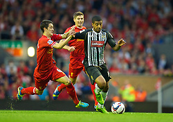 LIVERPOOL, ENGLAND - Tuesday, August 27, 2013: Notts County's Joss Labadie in action against Liverpool during the Football League Cup 2nd Round match at Anfield. (Pic by David Rawcliffe/Propaganda)