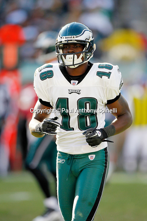 Philadelphia Eagles wide receiver Jeremy Maclin (18) jogs off the field during the NFL week 6 football game against the Atlanta Falcons on Sunday, October 17, 2010 in Philadelphia, Pennsylvania. The Eagles won the game 31-17. (©Paul Anthony Spinelli)