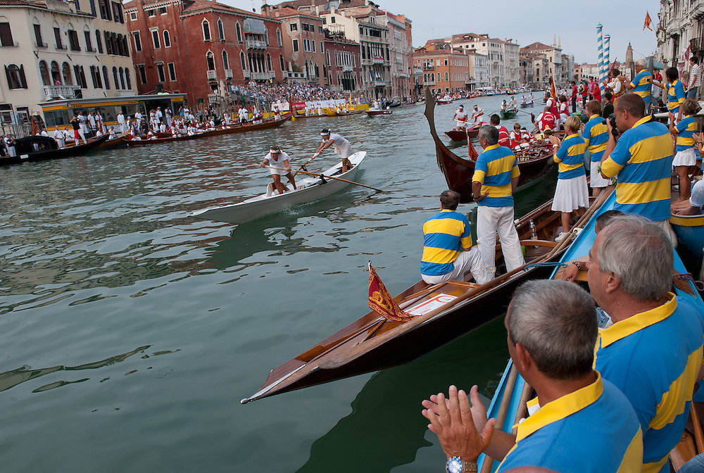 VENICE, ITALY - SEPTEMBER 05:  Members of Venetian rowing clubs watch the  Historic Regata the sides of the Gran Canal on September 5, 2010 in Venice, Italy. The Historic Regata is the most exciting rowing race on the Gran Canal for the locals and one of the most spectacular ***Agreed Fee's Apply To All Image Use***.Marco Secchi /Xianpix. tel +44 (0) 207 1939846. e-mail ms@msecchi.com .www.marcosecchi.com