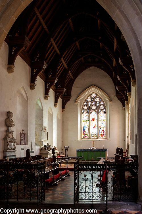 Altar, chancel and sanctuary of Great Bedwyn church, Wiltshire, England, UK