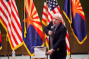 Nov. 23, 2009 -- PHOENIX, AZ: Sen. JOHN McCAIN (R-AZ) points to a stack of papers he said was HP 3962, the House of Representatives' health care reform bill, during a town hall meeting on health care reform at North Phoenix Baptist Church in Phoenix, AZ. About 300 people, most of them medical professionals, attended the meeting to hear Sen. McCain talk about the health care reform proposals currently in congress and to give McCain their opinions on health care reform.   Photo by Jack Kurtz