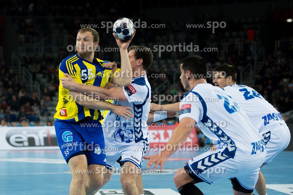 Ziga Mlakar of Pivovarna Lasko during EHF Champions eague 2016/17 handball match between HC Prvo Plinarsko Drustvo Zagreb and RK Celje Pivovarna Lasko, on March 9th, 2017 in Arena Zagreb, Croatia. Photo by Martin Metelko / Sportida