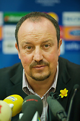 LIVERPOOL, ENGLAND - Monday, March 9, 2009: Liverpool's manager Rafael Benitez during a press conference at Anfield ahead of the UEFA Champions League First Knockout Round 2nd Leg match against Real Madrid. (Photo by David Rawcliffe/Propaganda)