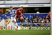 Middlesbrough FC striker Jordan Rhodes (9) heads the ball goalwards during the Sky Bet Championship match between Queens Park Rangers and Middlesbrough at the Loftus Road Stadium, London, England on 1 April 2016. Photo by Andy Walter.