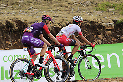 The breakaway including Jetse Bol (NED) Burgos-BH and Jesus Herrada (ESP) Cofidis still in the lead on the final Cat 1 climb up to Observatorio Astrofisico de Javalambre during Stage 5 of La Vuelta 2019 running 170.7km from L'Eliana to Observatorio Astrofisico de Javalambre, Spain. 28th August 2019.<br /> Picture: Eoin Clarke | Cyclefile<br /> <br /> All photos usage must carry mandatory copyright credit (© Cyclefile | Eoin Clarke)