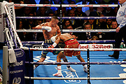 Josh Warrington and Kid Galahad during the IBF World Featherweight Championship between Josh Warrington and Kid Galahad at First Direct Arena, Leeds, United Kingdom on 15 June 2019.