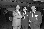 13/05/1962<br /> 05/13/1962<br /> 13 May 1962<br /> Variety Club Convention Cocktail Party at the Shelbourne Hotel, Dublin. Pictured are (l-r): Charlie Oken, President Coca-Cola, New York City; Rick Bourke, Past Chief Barker, Tent 41, Dublin and Maxie Fillet, Pepsi-Cola, New York City.