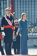 King Felipe VI of Spain and Queen Letizia of Spain attended the New Year's Military Parade at the Palacio Real on January 6, 2015 in Madrid, Spain
