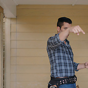 Jonathan Scott discusses a scene during a production day for the HGTV show, Brother vs Brother, Wednesday, February 15, 2017 in Galveston, Texas. Season five of the show which features The Property Brothers, Jonathan and Drew Scott, airs later this year.<br /> <br /> Todd Spoth for The New York Times.