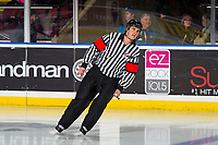 KELOWNA, BC - DECEMBER 18:  Referee Steve Papp skates on the ice at Prospera Place on December 18, 2018 in Kelowna, Canada. (Photo by Marissa Baecker/Getty Images)***Local Caption***