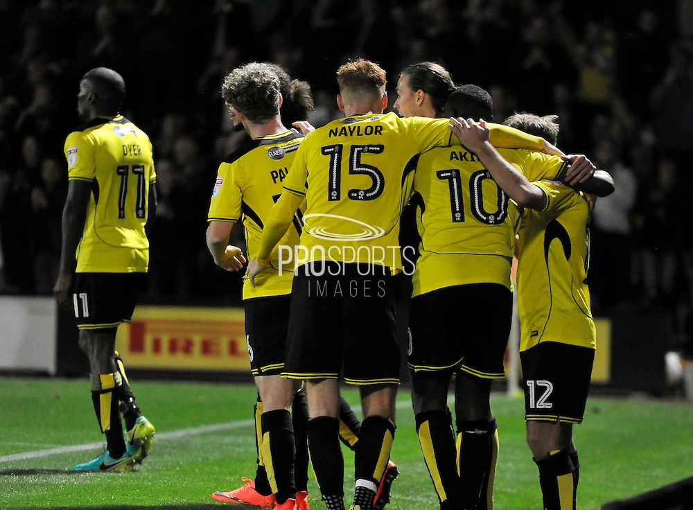 Burton Albion celebrate after Jamie Ward (12) scores to make the score 1-0 to Burton Albion during the EFL Sky Bet Championship match between Burton Albion and Queens Park Rangers at the Pirelli Stadium, Burton upon Trent, England on 27 September 2016. Photo by Richard Holmes.