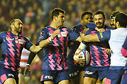 Geoffrey Doumayrou is congratulated by team mates after scoring try during the European Rugby Challenge Cup match between Gloucester Rugby and Stade Francais at BT Murrayfield, Edinburgh, Scotland on 12 May 2017. Photo by Kevin Murray.
