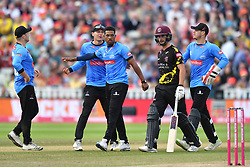 Somerset's Lewis Gregory leaves the field after being bowled out by Sussex Sharks' Chris Jordan during the Vitality T20 Blast Semi Final match on Finals Day at Edgbaston, Birmingham.