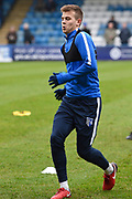 Gillingham FC midfielder Jake Hessenthaler (8) warms up ahead of  the EFL Sky Bet League 1 match between Gillingham and Rochdale at the MEMS Priestfield Stadium, Gillingham, England on 13 January 2018. Photo by Martin Cole.