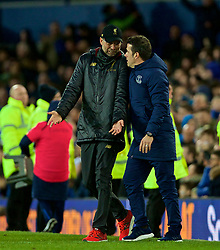 LIVERPOOL, ENGLAND - Sunday, March 3, 2019: Liverpool's manager Jürgen Klopp (L) speaks with Everton's manager Marco Silva (R) after the FA Premier League match between Everton FC and Liverpool FC, the 233rd Merseyside Derby, at Goodison Park. The game ended in a 0-0 draw. (Pic by Laura Malkin/Propaganda)